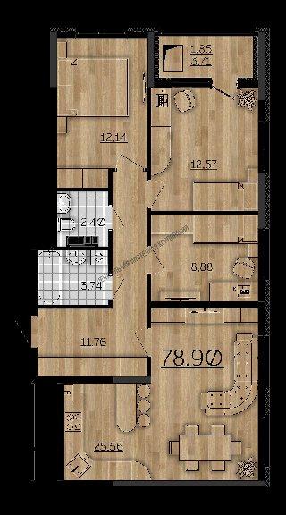 Продается 3-к квартира, 78.9 кв.м, 8/16 эт., Мервинская ул., д. 6