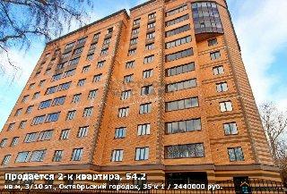 Продается 2-к квартира, 54.2 кв.м, 3/10 эт., Октябрьский городок, 35 к 1