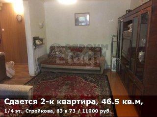 Сдается 2-к квартира, 46.5 кв.м, 1/4 эт., Стройкова, 63 к 73