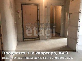 Продается 1-к квартира, 44.3 кв.м, 4/15 эт., Княжье поле, 16 к 1