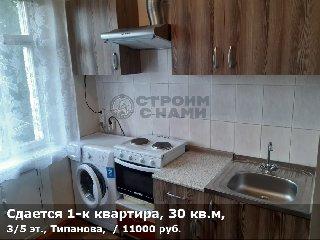 Сдается 1-к квартира, 30 кв.м, 3/5 эт., Типанова,
