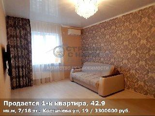 Продается 1-к квартира, 42.9 кв.м, 7/18 эт., Костычева ул, 19