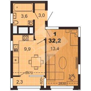 Продается 1-к квартира, 32.2 кв.м, 1/10 эт., Мервинская ул, 33к5