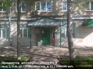 Продается  коммерческая, 185.9 кв.м, 1/5 эт., ул Станкозаводская, д. 11