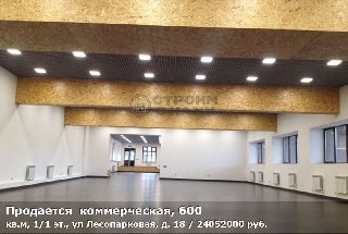 Продается  коммерческая, 600 кв.м, 1/1 эт., ул Лесопарковая, д. 18