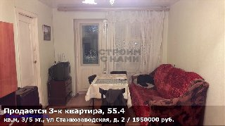 Продается 3-к квартира, 55.4 кв.м, 3/5 эт., ул Станкозаводская, д. 2