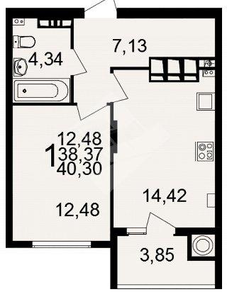 Продается 1-к квартира, 40.3 кв.м, 20/20 эт., Олимпийский городок мкр, 4