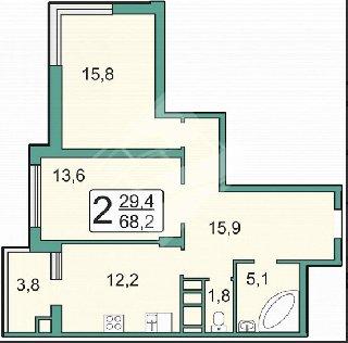 Продается 2-к квартира, 64.4 кв.м, 9/24 эт., Новоселов ул, 47