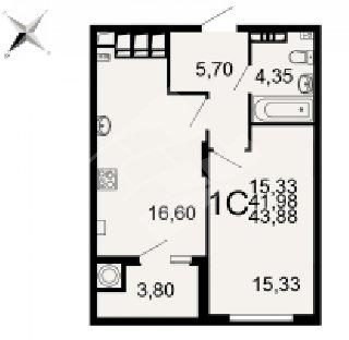 Продается 1-к квартира, 43.9 кв.м, 13/20 эт., Семчинская ул, 3к2