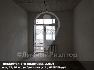 Продается 1-к квартира, 229.6 кв.м, 25/26 эт., ул Брестская, д. 1