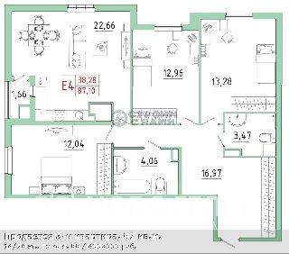 Продается 3-к квартира, 87 кв.м, 14/26 эт., Гоголя, 55