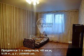 Продается 1-к квартира, 40 кв.м, 5/25 эт., д. 1