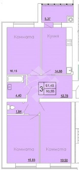 Продается 3-к квартира, 90.6 кв.м, 2/7 эт., 8-го Марта ул, 1