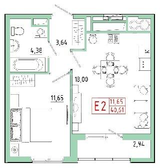 Продается 1-к квартира, 40.6 кв.м, 9/23 эт., Быстрецкая ул, 20к3