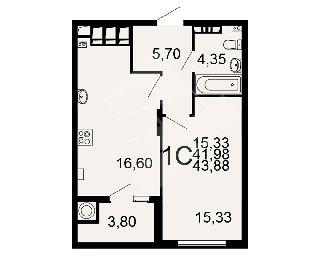 Продается 1-к квартира, 43.9 кв.м, 17/20 эт., Семчинская ул, 3к2