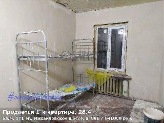 Продается 1-к квартира, 28.4 кв.м, 1/1 эт., Михайловское шоссе, д. 88Е