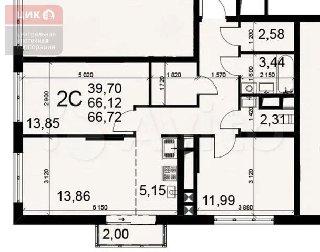 Продается 2-к квартира, 65.8 кв.м, 14/25 эт.