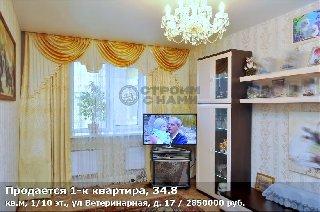 Продается 1-к квартира, 34.8 кв.м, 1/10 эт., ул Ветеринарная, д. 17