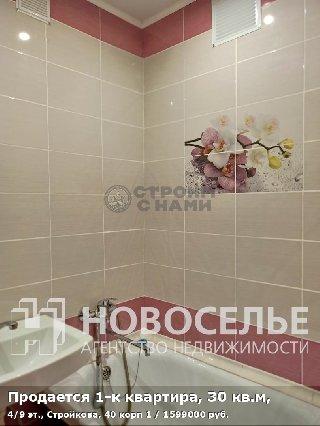 Продается 1-к квартира, 30 кв.м, 4/9 эт., Стройкова, 40 корп 1