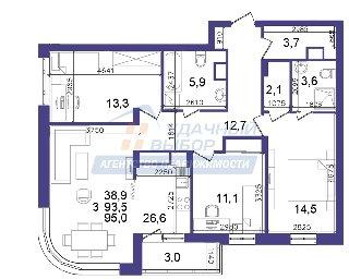 Продается 3-к квартира, 94.7 кв.м, 5/27 эт., Быстрецкая ул, 10