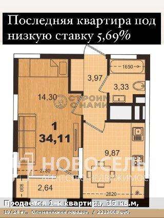Продается 1-к квартира, 35 кв.м, 18/24 эт.,  Олимпийский городок,