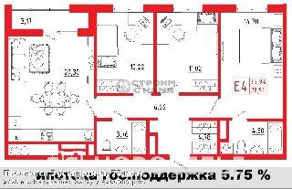 Продается 3-к квартира, 78 кв.м, 3/20 эт., Быстрецкая 22к1,