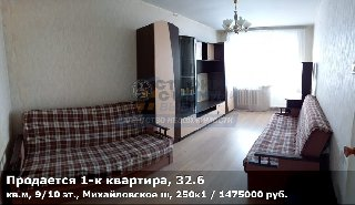Продается 1-к квартира, 32.6 кв.м, 9/10 эт., Михайловское ш, 250к1