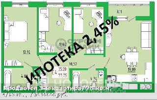 Продается 3-к квартира, 78 кв.м, 4/18 эт., ,