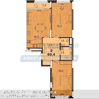 Продается 2-к квартира, 69.4 кв.м, 2/23 эт., Московское ш, 25