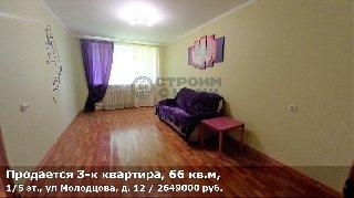 Продается 3-к квартира, 66 кв.м, 1/5 эт., ул Молодцова, д. 12