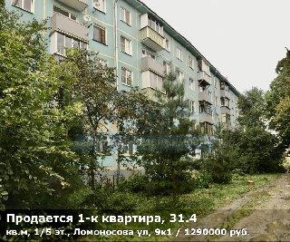 Продается 1-к квартира, 31.4 кв.м, 1/5 эт., Ломоносова ул, 9к1