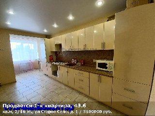 Продается 1-к квартира, 43.6 кв.м, 2/16 эт., ул Старое Село, д. 1