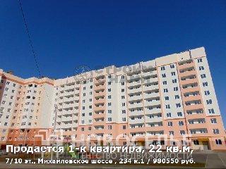 Продается 1-к квартира, 22 кв.м, 7/10 эт., Михайловское шоссе , 234 к.1
