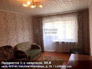 Продается 1-к квартира, 30.6 кв.м, 4/5 эт., поселок Мехзавода, д. 35
